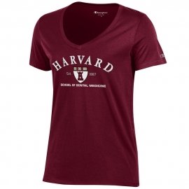 Harvard School of Dental Medicine Women's Maroon V Neck t shirt