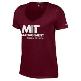 MIT Sloan School of Management Women's V Neck Maroon T Shirt