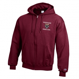 Harvard Business School Full Zip Maroon Hooded Sweatshirt