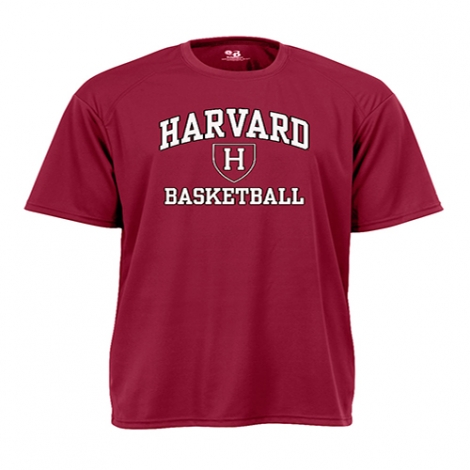 Harvard Maroon Performance Sport Tee Shirts with Athletic Shield