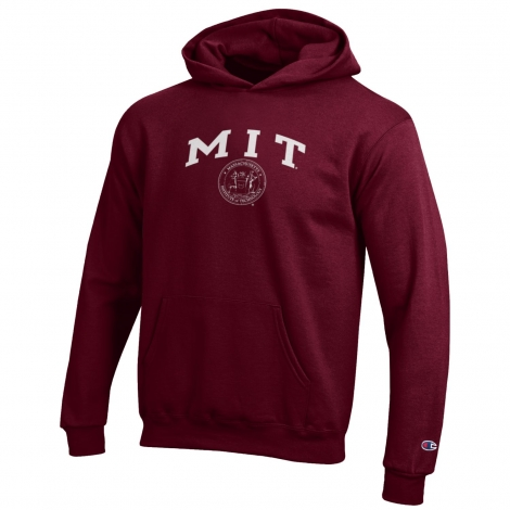Youth MIT Maroon Hooded Sweatshirt with Seal Design