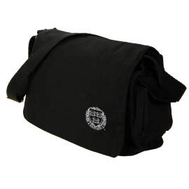Harvard Veritas  Waxed Black Cotton Canvas Messenger Bag