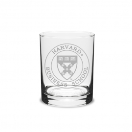 Harvard Business School Set Of 2 Engraved Crystal Old Fashioned Glass