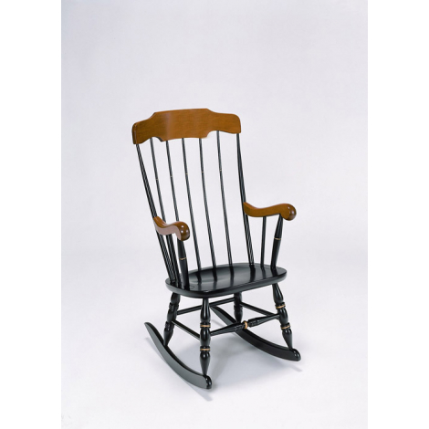Harvard Laser Engraved Black With Cherry Rocking Chair