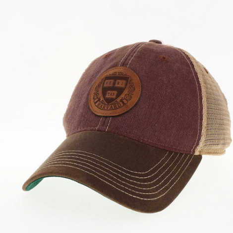 Harvard Waxed Cotton Twill Trucker Snapback with Leather Patch Design