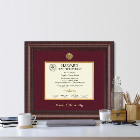 Harvard Presidential Gold Engraved Certificate Frame in Premier with Maroon Linen Mat