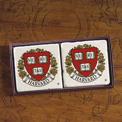 Harvard Screencraft Tileworks Set of 2 Marble Coasters Harvard Seal