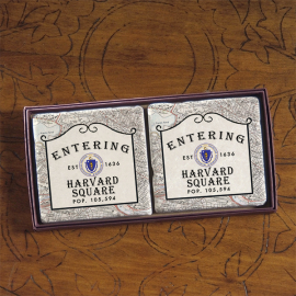 Harvard Screencraft Tileworks Set of Marble Coasters Entering Harvard Square