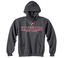 Granite Hooded Versa Twill Sweatshirt Harvard Shield w/ Harvard and University