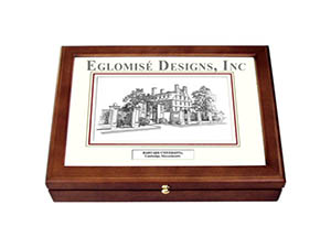 Harvard Eglomise Pen & Ink Medium Desk Box