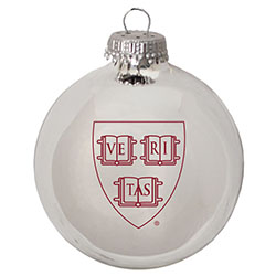 Harvard Glass Ball Glossy Silver Veritas Ornament