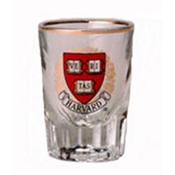 Harvard 2 oz Fluted Gold Rim Shot Glass