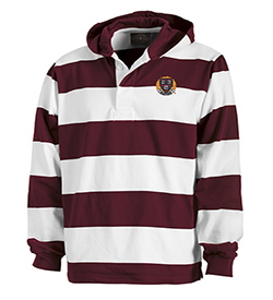Classic Harvard Rugby Hooded Maroon/White Shirt