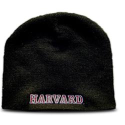 Black Harvard Knit Skull Hat