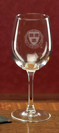 Harvard Veritas Engraved Set of 2 Crystal Wine Glass