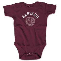 Harvard w/Seal Short Sleeve Maroon Infant Onsie