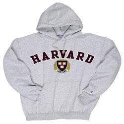 Harvard w/Seal Embroidered Grey Hooded Sweatshirt