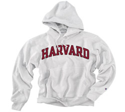 Reverse Weave Harvard Grey Hooded Sweatshirt