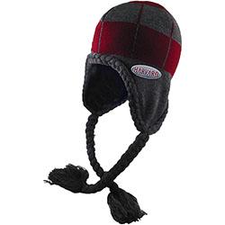 Harvard Maroon & Charcoal  Flap Hat w/ Fleece Lining