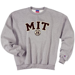 MIT w/Seal Embroidered Patch w/Tackle Twill Lettering Grey Crew Sweatshirt