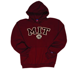 MIT w/Seal Embroidered Maroon Hd Sweatshirt