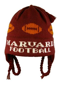 Hand Made Heavy Wool Harvard Football Flap Hat