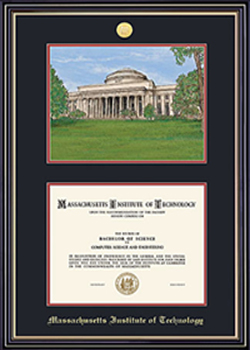 MIT Lithograph & Medallion Diploma Frame