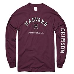 Harvard Football Maroon Long Sleeve T Shirt
