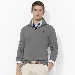 Ralph Lauren French MIT Grey 1/4 Zip Sweater