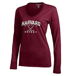 Women's Long Sleeve Hockey Maroon T Shirt