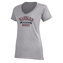 Woman's Hockey Grey V Neck T Shirt