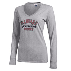Women's Long Sleeve Grey T Shirt - Harvard Hockey