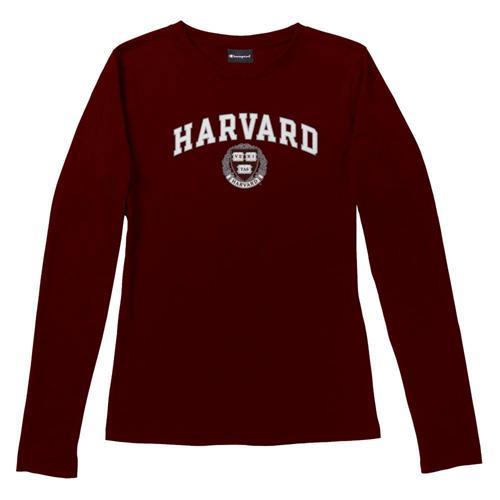 Women's Fit Maroon Harvard Long Sleeve V Neck T Shirt