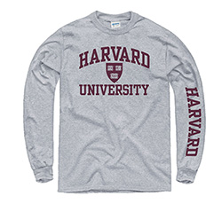 Harvard w/ Veritas Seal Grey Long Sleeve T Shirt