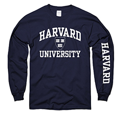 Harvard w/ Veritas Seal Navy Long Sleeve T Shirt