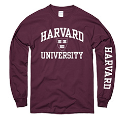 Harvard w/ Veritas Seal Maroon Long Sleeve T Shirt