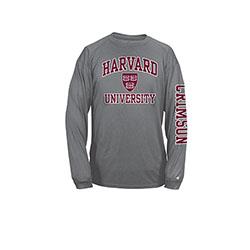 Moisture-Management Carbon Harvard Long Sleeve T Shirt