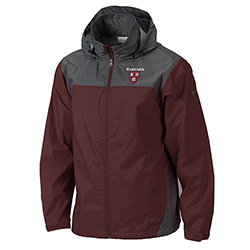 New! Columbia Glennaker Maroon/Grey Harvard Rain Jacket