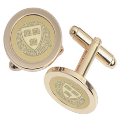 23K Medallion Gold-Plated Brass Harvard Cufflinks #6 G-G