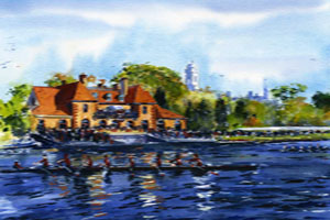 Weld Boathouse in Watercolor by Mark Waitkus