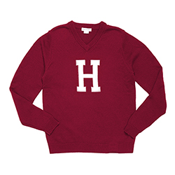 The H  College V Neck Neck Harvard Crimson Sweater