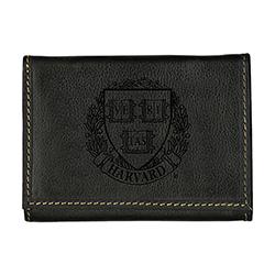 New! Harvard Veritas Westbridge Black Trifold Wallet