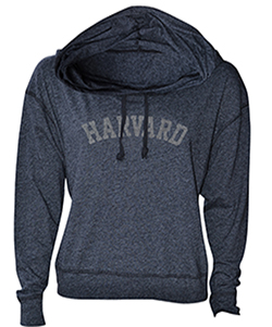 Women's Fit Harvard Luxe Slub Black Hooded Sweatshirt
