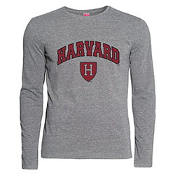 Harvard Athletic Shield Graphite Performance Long Sleeve T Shirt