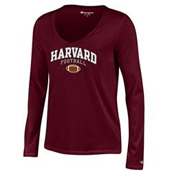 Women's Fit V Neck Maroon Football Long Sleeve T Shirt