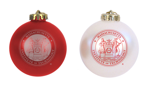 MIT Shatterproof Maroon & White Ornaments Set of 2