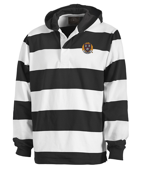 Classic Harvard Rugby Hooded Black/White Sweatshirt