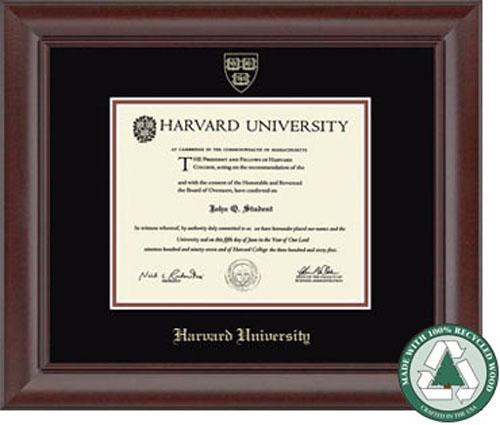 Recycled Wood Harvard Undergraduate Diploma Frame