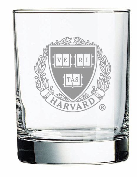 Harvard Veritas Set of 2 Crystal Engraved Old Fashioned Glass