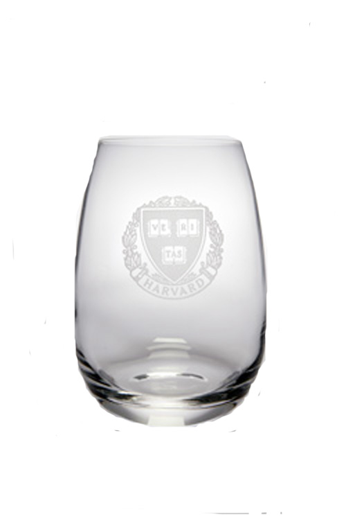 Harvard Veritas (Set of 2) Engraved Stemless Crystal Wine Glass